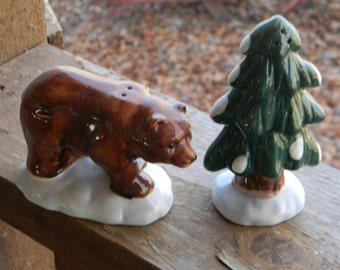 Vintage Holiday decor figurines Salt and Pepper Shaker Bear and Tree, gift ideas, Christmas table, woodland, rustic,