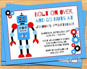 Cute Kids Robot Birthday Party Invitation