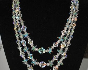Vintage German Aurora Borealis Crystal bridal multi strand necklace