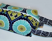 Navy Blue Aqua Green Floral Knitting or Crochet Yarn Project Boxy Pouch with Handle or Black and Red Sheep