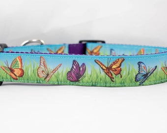 "Butterfly 1"" inch wide Dog Collar, buckle or martingale, purple, nature, spring, summer, grass, butterflies"