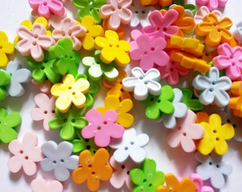 25 pcs Cute flower  button 2 hole  Mix color size 15 x 16 mm