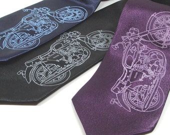Motorcycle Tie - Premium Quality Microfiber Tie - Gift wrapped - Choose color and quantity