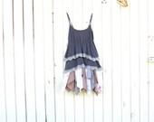 xsmall / small upcycled beach dress  - Upcycled clothing / Tattered Layers Dress / Funky Tunic / Eco Dress / Artsy Dress by CreoleSha