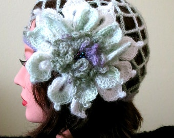 FREE US SHIPPING - Art Deco Style Lovely Dahlia White Green Color Mesh Skullcap Flapper Hat with Crocheted Flower