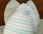 Ticking Pillow Upcycled Fabric Repurposed Textile Folk Art Fantasy Decor Whimsical