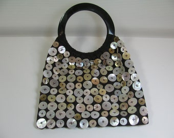 Vintage Handbag / Purse -  Made in Vietnam of Silk w/ Horn Handles and Mother of Pearl Shell Buttons