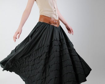 Romantic Black Pretty Linen Long Maxi Skirt(more colour and size choice)-NS13