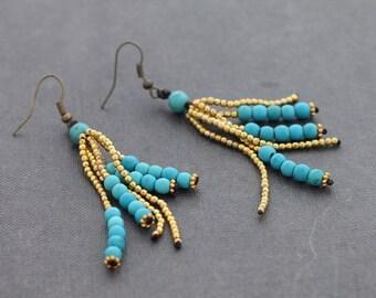 Turquoise Brass Tassels Earrings