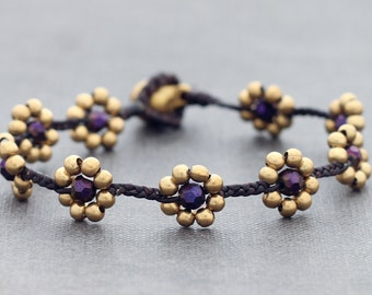 Daisy Purple Faceted Braided Bracelet