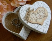 Rustic Ring Bearer Box Heart Ringbearer Burlap Pillow Personalized Wood Heart Shabby Chic Woodland Heart Ring Box Personalized Ring Bearer