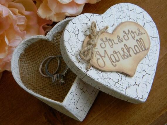 Rustic Ring Bearer Box Heart Ringbearer Burlap Pillow Personalized Wood Heart Shabby Chic Woodland Heart Ring Box Personalized Ring Bearer