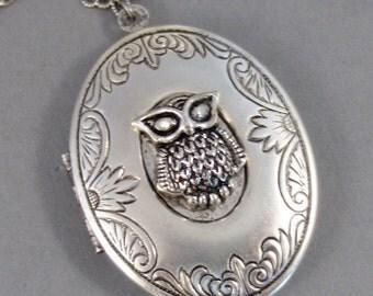 Wisdom,Owl,Owl Locket,Owl Necklace,Locket,Silver Locket,Silver Necklace,Owl,Silver,Woodland,Antique Locket,Large valleygirldesigns.