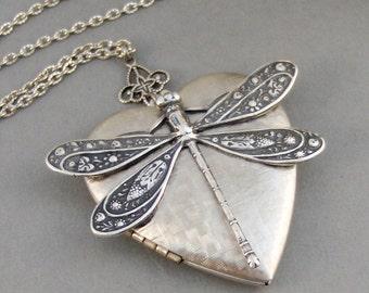 Hearts Dragonfly,Dragonfly Locket,Dragonfly Necklace,Locket,Dragonfly Locket,Antiqued,Charm,Silver Locket,Antique Locket. Valleygirldesigns.