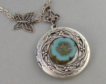 Aqua Blossom,Silver Locket,Locket,Antique Locket,Blue,Blue Flower,Blue Stone,Aqua Locket,blue Locket,Boho,Gypsy,Floral.valleygirldesigns.