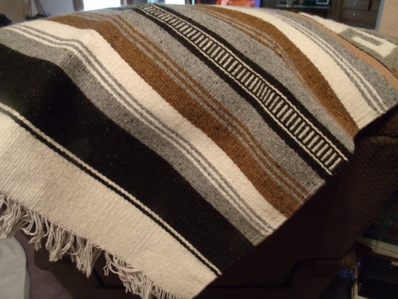 Vtg Wool Blanket Aztec Southwestern Couch Throw Mayan