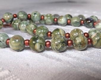 Green Rhyolite Necklace Set
