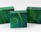 Blades of grass - trio of small original oil paintings - Leaves of Grass