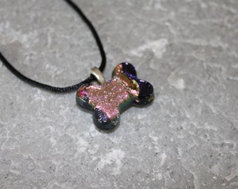Dichroic Fused Glass Dog Bone Pendant Necklace