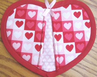 Pink, Red, and White Hearts in Squares Potholders - Set of 2