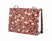 Index card binder, red damask, daily memory journal, recipe card binder, index card holder with a set of index card dividers