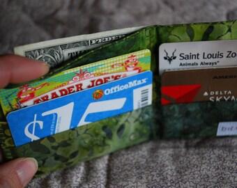 Womens thin wallet - dark green batik - with a coin pocket FREE SHIPPING