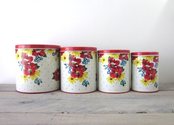 vintage kitchen metal canister set of four farmhouse