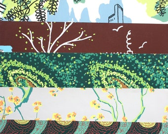 Lot of mid century wallpaper samples. Floral, landscape, cityscape, magnolia, green, brown, chartreuse.