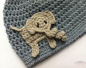 Boys crochet hat pattern - Easy Peasy Boys Hat with Elephant Applique No.003 Digital PDF