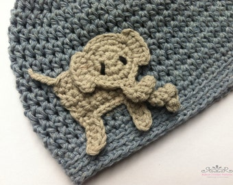 Boys crochet hat pattern - Easy Peasy Boys Hat with Elephant Applique No.003 Digital PDF