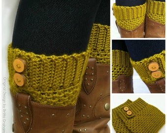 Crochet Boot Cuff Pattern - Button Up Boot Cuffs Crochet Pattern No.911 Digital Download PDF