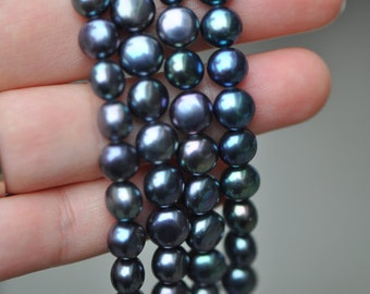 """Freshwater Button Pearls 8mm Dyed Black-(PL03-9)/ 15"""" strand"""