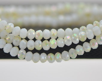 Crystal Glass Rondelle Faceted beads 3x4mm Opal Champagne AB -(BZ04-113)/ 145pcs
