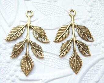 Antique brass earring leaf  sprig drop pendant , lot of (2) -  KE134