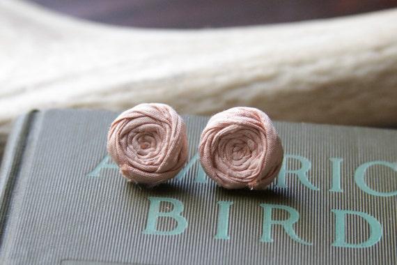 Rosette Earrings Sterling Silver Pink Lemonade Silk Rosette Earrings Bright Fun Favor Gift Anniversary Bridal Party Chic