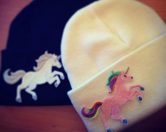 Unicorn Beanie Knitted Hat, Various Colours