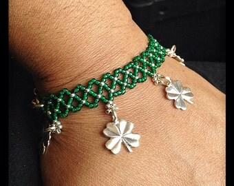 Green Beaded Bracelet, St Patricks Day Bracelet, Kelly Green Jewelry, Silver Charm Bracelet, 4 leaf clover charm bracelet, Fun Bracelet