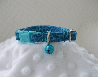 Turquoise Leopard  with Blue  Bell  Breakaway Collar Custom Made