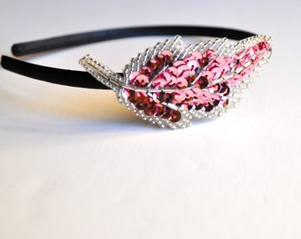 Sale--Pink and silver sequin headband. One size for women or girls.
