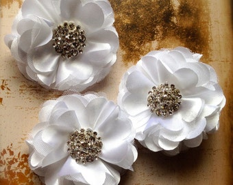 Wedding tulle and satin flower with rhinestones in white, pink, peach, yellow, silver, grey, ivory, eggplant dotted, black, teal, red, coral
