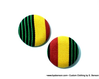 Fabric Covered  Button Earring - Rasta