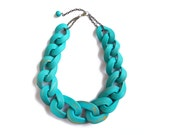 Teal Chain Link Necklace, Turquoise Blue Chunky Chain Necklace, Statement jewelry