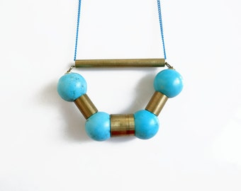 Turquoise Necklace, Long Turquoise Pendant Necklace, Turquoise Jewelry, Gift for her