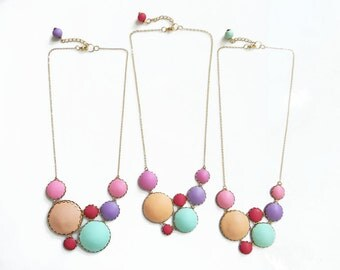 Bib Statement Necklace, Colorful Polymer Clay Necklace, Modern Necklace Color Dots