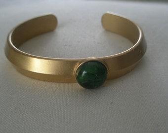 Vintage Gold Tone Speidel Cuff Bracelet with Jade Stone