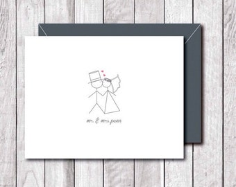 Stick Figure Wedding, Stick Figures, Bride and Groom, Wedding Thank You Cards, Bridal Shower, Thank You Cards, Affordable Weddings