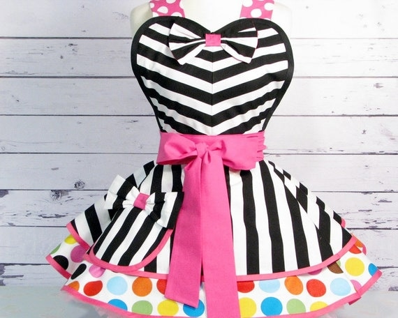 Dotties Diner Retro 60s Style Apron Black and White Stripes and Colorful Polka Dots in stock