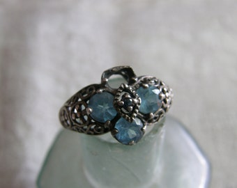 Vintage sterling filigree ring from the 1970's with blue stones - for repair