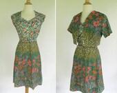vintage 1960s dress / floral print dress and jacket set / 60s dress and bolero jacket