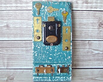 Antique Architectural Salvage Hardware Assemblage Wall Hanging Functional Art, Hook Organizer Keys Jewelry, Rustic Industrial Blue Decor